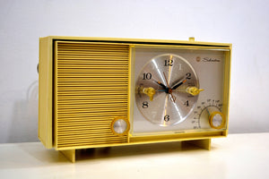 Custard Yellow 1962 Silvertone Model 3037 AM Vacuum Tube Clock Radio Sounds Fantastic! - [product_type} - Silvertone - Retro Radio Farm