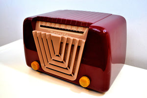 SOLD! - June 21, 2019 - Bordeaux Burgundy 1949 Motorola Model 68X-11Q Vintage Tube AM Clock Radio Art Deco Classic! - [product_type} - Motorola - Retro Radio Farm