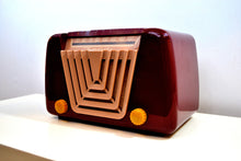 Load image into Gallery viewer, SOLD! - June 21, 2019 - Bordeaux Burgundy 1949 Motorola Model 68X-11Q Vintage Tube AM Clock Radio Art Deco Classic! - [product_type} - Motorola - Retro Radio Farm