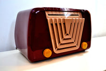 Load image into Gallery viewer, Bordeaux Burgundy 1949 Motorola Model 68X-11Q Vintage Tube AM Clock Radio Art Deco Classic! - [product_type} - Motorola - Retro Radio Farm