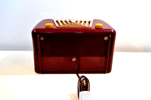 Bordeaux Burgundy 1949 Motorola Model 68X-11Q Vintage Tube AM Clock Radio Art Deco Classic! - [product_type} - Motorola - Retro Radio Farm