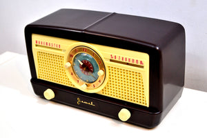 Mocha Brown Bakelite 1950 Jewel Wakemaster Model 5057U Vacuum Tube AM Clock Radio The Master Awaketh! - [product_type} - Jewel - Retro Radio Farm
