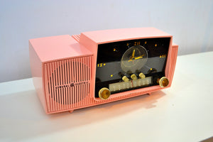 Rose Pink 1959 General Electric Model C-4340  Tube AM Clock Radio Cream Puff! - [product_type} - General Electric - Retro Radio Farm