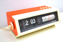 Load image into Gallery viewer, Creamsicle Orange 70s Panasonic Model RC-1122 Flip Clock Solid State AM Radio Works Great! - [product_type} - Panasonic - Retro Radio Farm