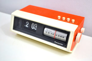 Creamsicle Orange 70s Panasonic Model RC-1122 Flip Clock Solid State AM Radio Works Great! - [product_type} - Panasonic - Retro Radio Farm