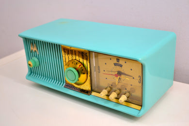Vivid Turquoise Mid Century 1957 Motorola Model 57CC Tube AM Clock Radio Sounds Great! Looks Great! - [product_type} - Motorola - Retro Radio Farm