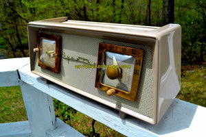 SOLD! - June 23, 2018 - SANDALWOOD BEIGE IVORY Mesh Mid Century 1954 Sparton Model 375C AM Tube Radio Real Looker!