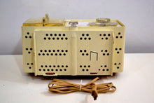 Load image into Gallery viewer, Linen Ivory 1966 General Electric Model C-546 AM Vintage Vacuum Tube Radio Very Mod Looking! - [product_type} - General Electric - Retro Radio Farm