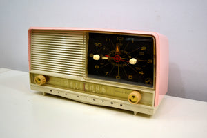 Powder Pink and White 1956 RCA Victor 8-C-7FE Vintage Tube AM Clock Radio Works Great! - [product_type} - RCA Victor - Retro Radio Farm