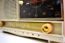 Load image into Gallery viewer, Powder Pink and White 1956 RCA Victor 8-C-7FE Vintage Tube AM Clock Radio Works Great! - [product_type} - RCA Victor - Retro Radio Farm