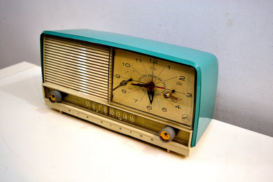 Monterey Turquoise and White 1956 RCA Victor 8-C-7 Vintage Tube AM Clock Radio Real Looker! - [product_type} - RCA Victor - Retro Radio Farm
