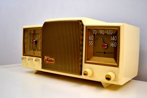Fleetwood Ivory and Gold 1955 General Electric Model 920 Vacuum Tube AM Clock Radio Higher End Model! - [product_type} - General Electric - Retro Radio Farm