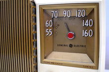 Load image into Gallery viewer, Fleetwood Ivory and Gold 1955 General Electric Model 920 Vacuum Tube AM Clock Radio Higher End Model! - [product_type} - General Electric - Retro Radio Farm