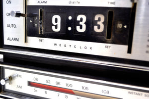 Genuine Faux Wood Grain 1974 Westclox AM/FM Solid State Clock Radio Alarm Rare Film Strip Model! - [product_type} - Westclox - Retro Radio Farm