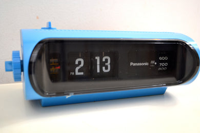 Orbit Blue 70s Panasonic Model RC-1103 Flip Clock Solid State AM Radio Works Great! - [product_type} - Panasonic - Retro Radio Farm