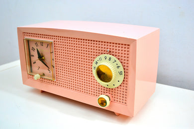Chiffon Pink Vintage 1959 General Electric Model C-435A Vacuum Tube Radio Lovely Lady! - [product_type} - General Electric - Retro Radio Farm