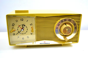 Harvest Gold 1963 Motorola Model C3S2 Vacuum Tube AM Clock Radio Near Mint Condition! - [product_type} - Motorola - Retro Radio Farm