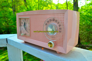 SOLD! - May 16, 2018 - PINK LADY Mid Century Retro Vintage 1959 General Electric Model C-400A AM Tube Radio Pink Clock Face! - [product_type} - General Electric - Retro Radio Farm