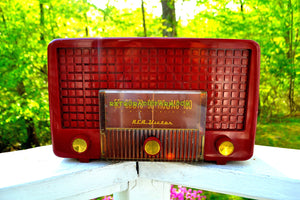 SOLD! - May 25, 2018 - CRANBERRY RED Mid Century Retro Vintage 1955 RCA Victor Model 5X-564 AM Tube Radio Great Sounding! - [product_type} - RCA Victor - Retro Radio Farm