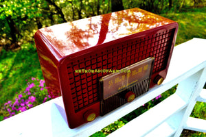 SOLD! - May 25, 2018 - CRANBERRY RED Mid Century Retro Vintage 1955 RCA Victor Model 5X-564 AM Tube Radio Great Sounding!