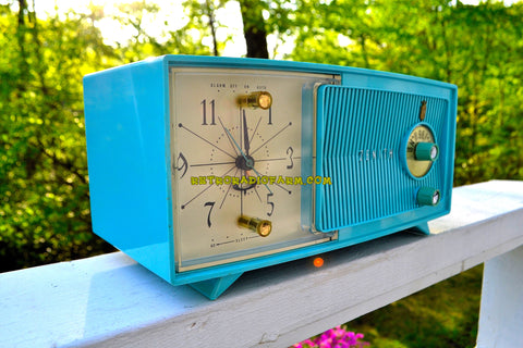 SOLD! - July 8, 2018 - BLUETOOTH MP3 UPGRADE ADDED - TURQUOISE BEAUTY Mid Century 1959 Zenith Model E514B Tube AM Clock Radio Excellent Sounding!