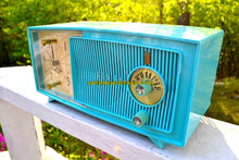 Load image into Gallery viewer, SOLD! - July 8, 2018 - BLUETOOTH MP3 UPGRADE ADDED - TURQUOISE BEAUTY Mid Century 1959 Zenith Model E514B Tube AM Clock Radio Excellent Sounding! - [product_type} - Zenith - Retro Radio Farm