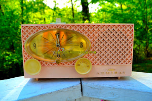 SOLD! - June 3, 2018 - BLUETOOTH MP3 UPGRADE ADDED - CLOVER PINK Vintage Atomic Age 1959 Admiral Y3354 Tube AM Radio Clock Near Mint!