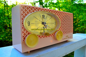 SOLD! - June 3, 2018 - BLUETOOTH MP3 UPGRADE ADDED - CLOVER PINK Vintage Atomic Age 1959 Admiral Y3354 Tube AM Radio Clock Near Mint! - [product_type} - Admiral - Retro Radio Farm