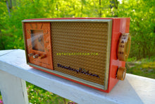 Load image into Gallery viewer, Coral And Copper 1955 Stromberg Carlson Model C-5 Tube AM Clock Radio Rare and Exquisite! - [product_type} - Stromberg Carlson - Retro Radio Farm