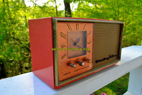 CORAL AND COPPER 1955 Stromberg Carlson Model C-5 Tube AM Clock Radio Rare and Exquisite!