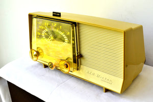 Golden Rod Yellow 1959 RCA Victor C-4EM Tube AM Clock Radio Works Great! Looks So MCM! - [product_type} - RCA Victor - Retro Radio Farm
