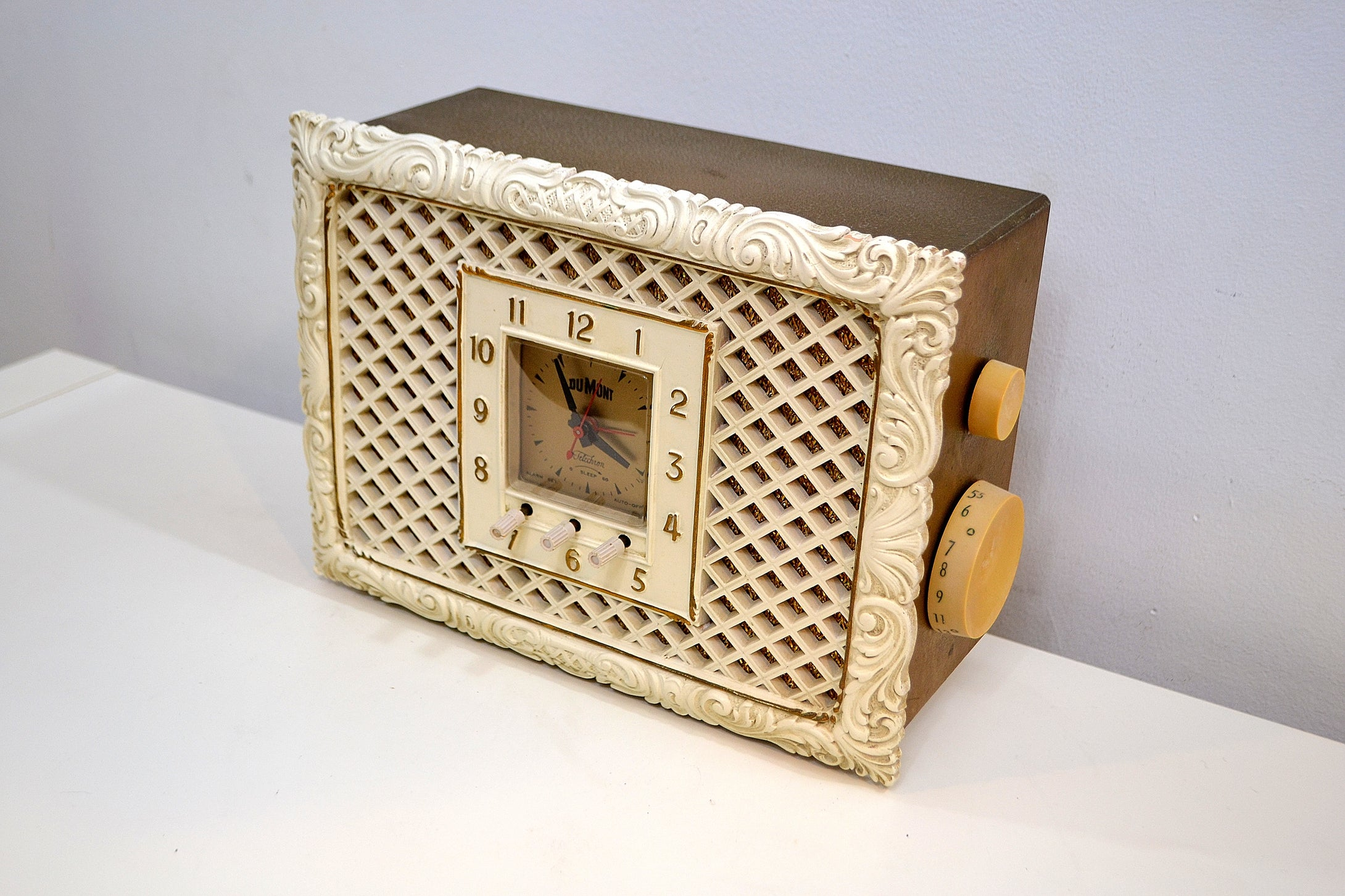SOLD! - June 21, 2019 - Romantic Revival Louis XIV Rococo 1956 Dumont Model RA-346 Tube AM Radio Liberace Would Approve! - [product_type} - Dumont - Retro Radio Farm