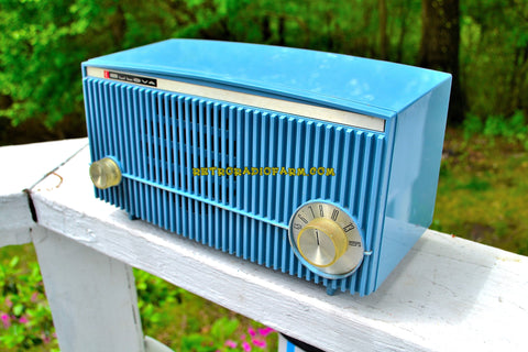 SOLD! - May 30, 2018 - BLUETOOTH MP3 Ready - SLATE BLUE 1957 Bulova Model 340 Tube AM Radio Rare Model Works Great!