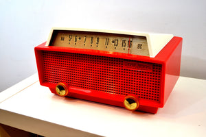 SOLD! - Oct 11, 2019 - Ranger Red and White Vintage 1956 Olympic Model 552 Tube AM Radio Totally Sick! - [product_type} - Olympic - Retro Radio Farm