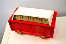 Load image into Gallery viewer, SOLD! - Oct 11, 2019 - Ranger Red and White Vintage 1956 Olympic Model 552 Tube AM Radio Totally Sick! - [product_type} - Olympic - Retro Radio Farm