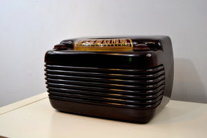 SOLD! - May 30, 2019 - Marble Swirly Brown Bakelite Vintage 1946 Philco Model 46-420 AM Radio Flawless and Sounds Amazing! - [product_type} - Philco - Retro Radio Farm