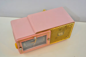 Fifth Avenue Pink 1957 Bulova Model 120 Tube AM Clock Radio Sounds Mah-valous! - [product_type} - Bulova - Retro Radio Farm