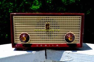 Burgundy Retro Vintage 1957 Zenith A508R AM Tube Radio Loud and Clear Sounding! - [product_type} - Zenith - Retro Radio Farm