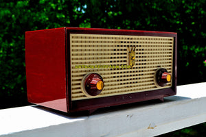 SOLD! - Nov 23, 2018 - Burgundy Retro Vintage 1957 Zenith A508R AM Tube Radio Loud and Clear Sounding! - [product_type} - Zenith - Retro Radio Farm