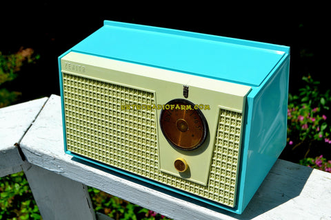 SOLD! - July 14, 2018 - BLUETOOTH MP3 UPGRADE ADDED - BELAIR BLUE AND WHITE 1955 Zenith Model F510 AM Tube Radio Excellent Condition!