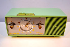 SOLD! -May 29, 2019 - Duncan Avocado 1961 Admiral Model Y3058 AM Pushbutton Clock Radio Mid Century Extravaganza to Behold! - [product_type} - Admiral - Retro Radio Farm