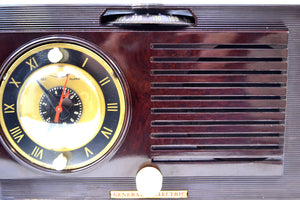 SOLD! - Oct 13, 2019 - Art Deco 1952 General Electric Model 60 AM Brown Bakelite Tube Clock Radio Totally Restored! - [product_type} - General Electric - Retro Radio Farm