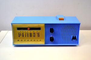 Azure Blue Mid Century Retro 1957 Motorola 57H Tube AM Radio - [product_type} - Motorola - Retro Radio Farm