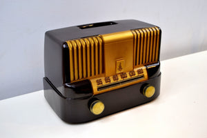 "SOLD! - June 29, 2019 - ""THE MODERNE"" 1949 Emerson Model 561A Brown Bakelite AM Tube Radio Golden Age Beauty in Pristine Condition! - [product_type} - Emerson - Retro Radio Farm"