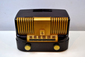 """THE MODERNE"" 1949 Emerson Model 561A Brown Bakelite AM Tube Radio Golden Age Beauty in Pristine Condition! - [product_type} - Emerson - Retro Radio Farm"