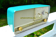 Load image into Gallery viewer, SOLD! - July 20, 2018 - AQUA and White Retro Jetsons 1956 RCA Victor 9-C-7LE Tube AM Clock Radio Totally Restored! - [product_type} - RCA Victor - Retro Radio Farm