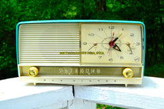 SOLD! - July 20, 2018 - AQUA and White Retro Jetsons 1956 RCA Victor 9-C-7LE Tube AM Clock Radio Totally Restored!
