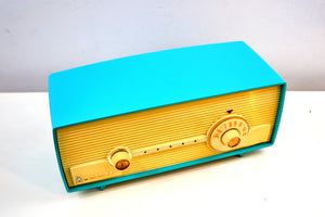 SOLD! - Jan. 8, 2020 - Seafoam Delight Turquoise and White 1958 Admiral Model 5D4 Tube AM Radio Absolutely Beauteous! - [product_type} - Admiral - Retro Radio Farm