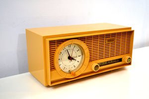 SOLD! - Jan 4, 2020 - Harvest Gold 1961 Travler Model 63C301 AM Tube Radio Rare Color and Time Warp Condition! - [product_type} - Travler - Retro Radio Farm