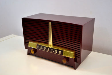 Burgundy 1955 Westinghouse H-436T5 AM Tube Retro Radio Very Sweet Sounding! - [product_type} - Westinghouse - Retro Radio Farm